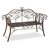 Cr Outdoor Patio Chair Garden Park Bench Metal antique garden bench with Decorative Cast Iron Backrest For Sale