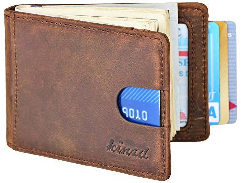 Mens Money Clip Wallet, RFID Blocking Genuine Leather Slim F