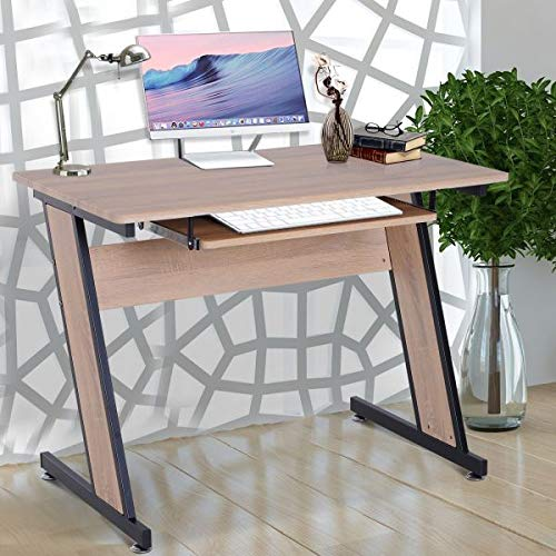 (Computer Desk Slide Out Keyboard Tray Office Workstation PC Laptop Study Table Compact Space Saving Home Office Furniture Adjustable Feet Dorm Living Room)