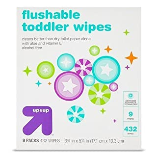New Toddler and Family Flushable Wipes 432 ct