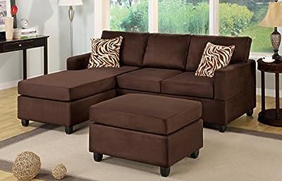 3 Piece Reversible Microfiber Sectional Sofa Set - Chocolate