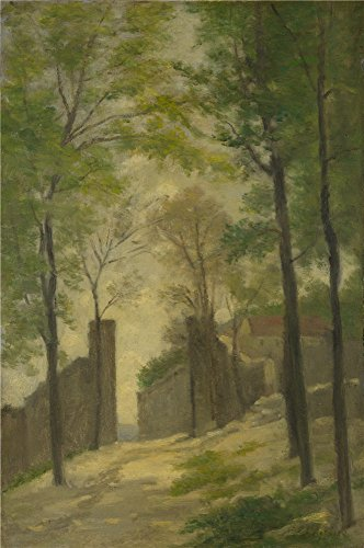 The High Quality Polyster Canvas Of Oil Painting 'Stanislas Victor Edmond Lpine A Gateway Behind Trees ' ,size: 12 X 18 Inch / 30 X 46 Cm ,this Imitations Art DecorativeCanvas Prints Is Fit For Home Theater Decoration And Home Gallery Art And Gifts
