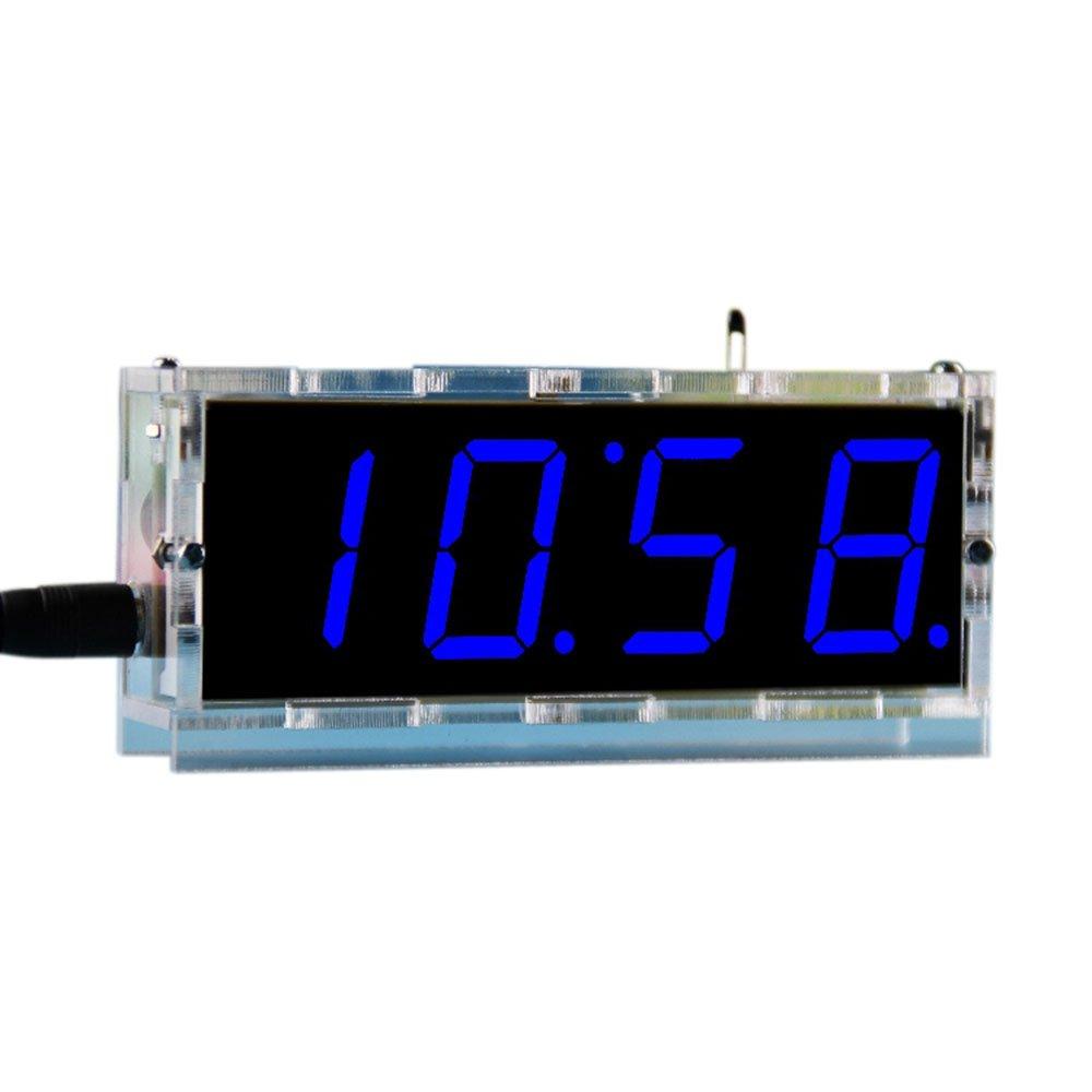 DIY Digital Clock Kit 4 Digit LED Electronic Clock Kit Large Screen with  Transparent Case LED Blue