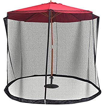 Shatex Umbrella Mosquito Patio Table Screen and netting Garden 7.5ft Dia red