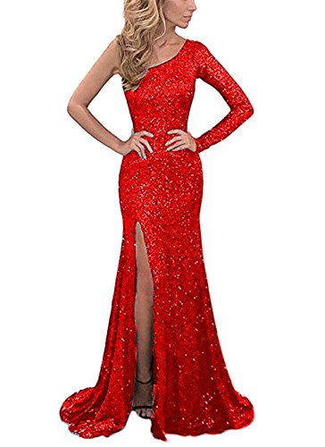 one sleeve red dress - 8