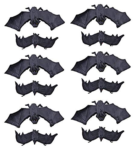 KEFAN Rubber Bats Halloween Hanging Bats Flying Bats Halloween Decoration Realistic Spooky Bats 12 Pack, 2 Sizes ()