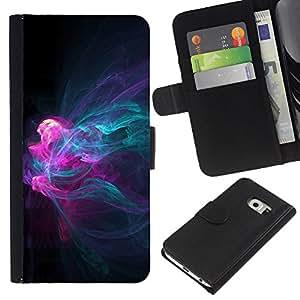 EJOY---La carpeta del tirón la caja de cuero de alta calidad de la PU Caso protector / Samsung Galaxy S6 EDGE / --Misteriosa Fluid Patrón trullo Rosa