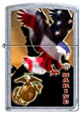 Zippo USMC Marines Eagle Military Lighter Street Chrome Finish New Release by Zippo