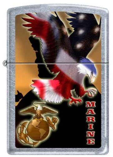 Zippo USMC Marines Eagle Military Lighter Street Chrome Finish New Release by Zippo by Zippo