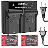 Neewer 2-Pack 7.4V 2000mAh Canon LP-E6 Replacement Li-ion Battery(Red) and 1-Piece LED Dual Channel Battery Charger with US EU Plug for Canon EOS 5D Mark II III VI 60D 7D 70D 80D, BG-E14 BG-E6 Grips