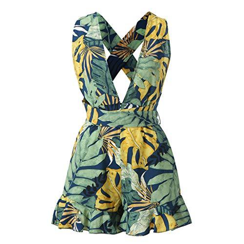 (Weiliru Women Outfit Sleeveless Shoulder Halter Bandage Waistband Sexy V-Neck Short Jumpsuit)