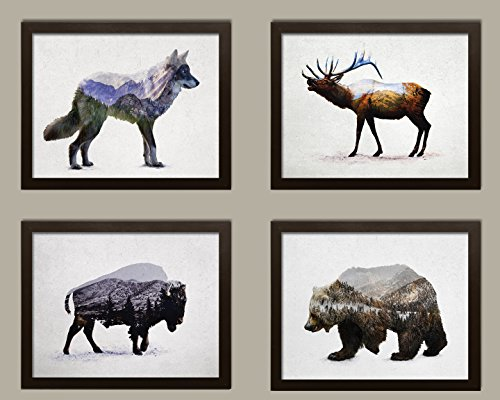 (Rustic Double Exposure Elk, Bison, Wolf and Bear Landscape Set; Cabin Lodge Decor; Four 10x8in Brown Framed Prints; Ready to Hang!)