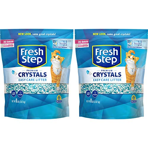 Fresh Step  Crystals, Premium Cat Litter, Scented, 8 Pounds (Pack of 2) (Packaging May Vary), White