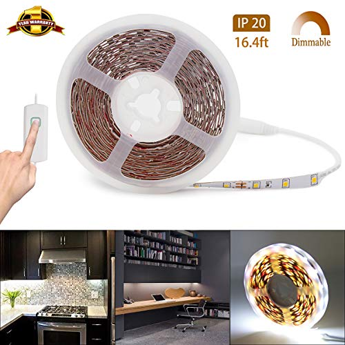 LED Strip Lights Dimmable Rope Lights 12V LED Light Strip White Under Cabinet Lighting Ultra Bright Vanity Lights 16.4ft LED Tape Light Non-Waterproof 6500K LED Ribbon Lights for Cabinet Mirror -