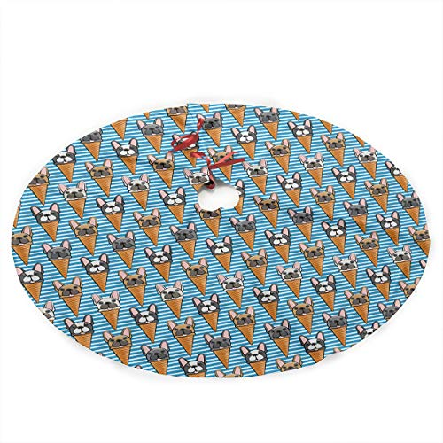 Yilad French Bull Dog Icecream Cones Christmas Tree Skirt Xmas Holiday Decoration
