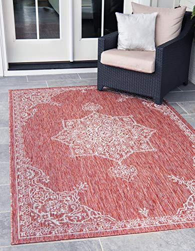 (Unique Loom Outdoor Traditional Collection Classic Medallion Transitional Indoor and Outdoor Flatweave Rust Red  Area Rug (8' 0 x 11' 4) )