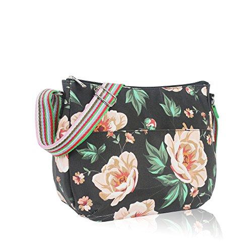 YDezire? Ladies Rose Flower Oilcloth Material Cross Body Bag Messenger Bags Shoulder Tote Satchel Handbag Black