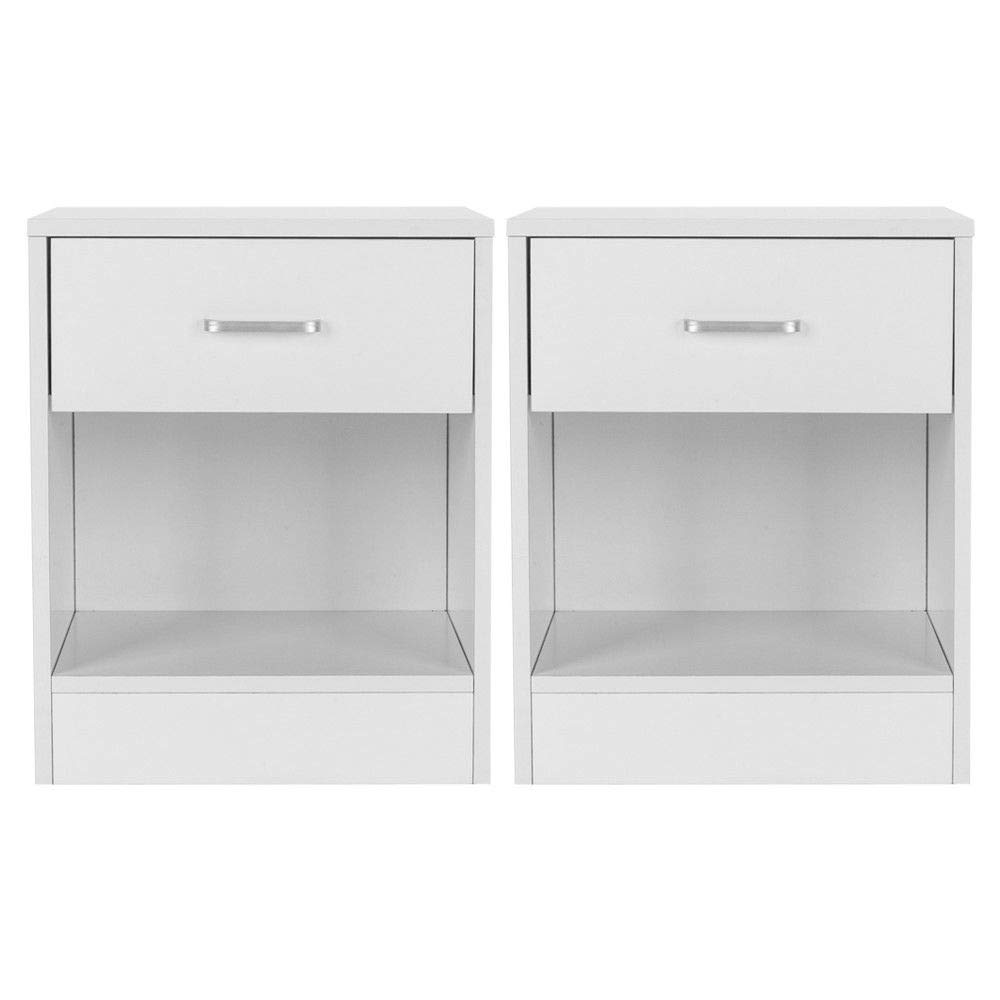 Set of 2 Night Stand 2 Layer W/Drawer Bedside End Table/Organizer Bedroom White Unbranded