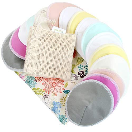 Bamboo Nursing Pads (16 Pack)+Laundry Bag & Travel Bag, 4.7 inch Option - Washable & Reusable Nursing Pads(Peaceful, Large, Contoured Shape)