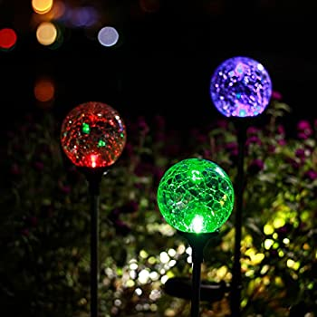 GIGALUMI Christmas Outdoor Solar Garden Lights, 3 Pack Cracked Glass Ball Solar Garden Stake Light, Solar Powered Lights Outdoor Multi-Color Changing LED Light for Garden, Patio, Backyard