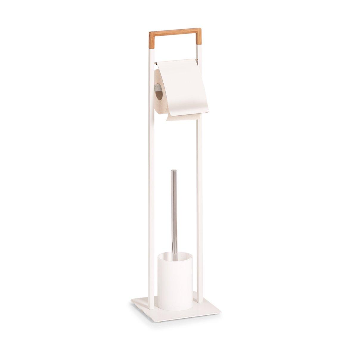 19 x 19 x 74.5 cm Zeller 18723/ bianco Metallo//Bamboo /Scopino per WC Legno Scopino