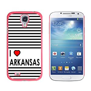 I Love Heart Arkansas Snap-On Hard Protective Case for Samsung Galaxy S4 - Non-Retail Packaging - Pink