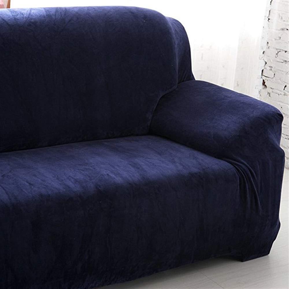 Mings Housse de canapé en velours 3 places Housse de protection pour fauteuil Slip Over Settee (bleu)
