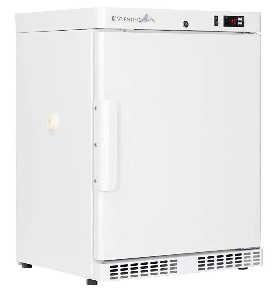 K2 Scientific - Under-Counter or Freestanding Solid Door Refrigerator for Lab Equipment - Medical-Grade Storage - 2 Shelves - 4 Cu. Ft. by K2 Scientific
