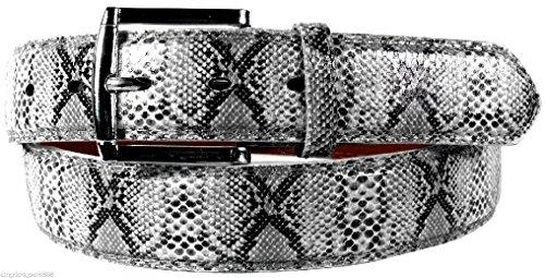 Men Black / Brown Faux Snake Skin Genuine Leather Stitched Belt W Belt Buckle (Brown Snake Genuine Belt)