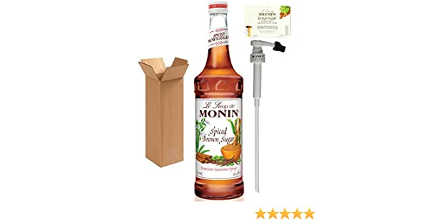Amazon.com : Monin Spiced Brown Sugar Syrup, 25.4-Ounce (750 ml) Glass Bottle with Monin BPA Free Pump. Boxed. : Grocery & Gourmet Food