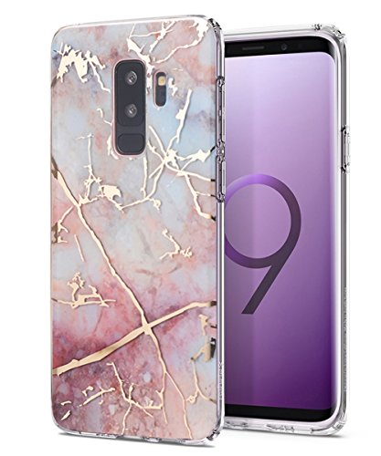 Galaxy S9 Plus Case,Spevert Colorful Marble Pattern Hybrid Hard Back Soft TPU Raised Edge Shock Absorption Slim Protective Case Cover for Samsung Galaxy S9 Plus/S9+(2018 Released)