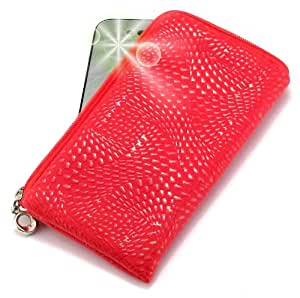"""""""Coyote"""" Rojo, Lujosa Billetera / Sostenedor en imitación de cuero acolchonado y con cierre para LG KF245. Auténtica Funda / Estuche con correa para transportar para teléfonos móviles."""