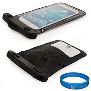 (Black) VG Waterproof & Grime Resistant Sleeve Cover for Sony Xperia J / Sony Xperia T / Sony Xperia V / Sony Xperia SL / Sony Xperia acro S / Sony Xperia GX / Sony Xperia neo L / Sony Xperia P/ Sony Xperia ion / Sony Xperia S / Sony Xperia TL Android Smartphones + SumacLife TM Wisdom Courage Wristband
