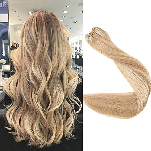 Full Shine 22 inch Sew in Hair Weft Human Hair Extensions Real Remy Hair Full Head Balayage Color #27 Honey Blonde and #613 Blonde Remy Hair Bundle 100g Per Package