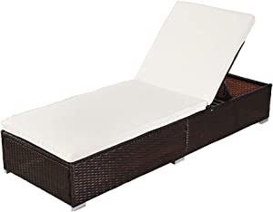 Oshion Outdoor Leisure Rattan Furniture Pool Bed/Chaise (Single Sheet)-Brown