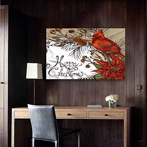 Wall Mural Wallpaper Stickers Cardinal Poinsettia and Pine Cones for Kids Rooms Boy Room Size : W20 x H16