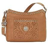 American West Leather Hobo - Zip-Top Shoulder Bag (Harvest Moon Golden Tan)