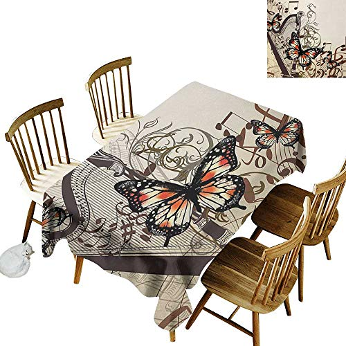 Camping Outdoor Tablecloth W50 x L80 Butterflies Harp Ornament and Butterflies Classic Musical Instrument Concert Theme Cream Orange Black Suitable for Traveling Outdoors Family Restaurant Coffee sh