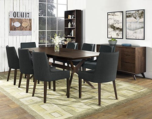 Coastlink Hawaii Walnut Extension Dining Set For 8 - Curve Back Chairs Steel Fabric