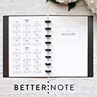 """BetterNote 2020 Monthly Calendar for Disc-Bound Planners, Fits 8-Disc Circa Junior, Arc, TUL, Half Letter Size 5.5""""x8.5"""" Classic (Notebook Not Included)"""