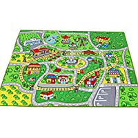 (100cm x 130cm) - Large Kid Play Rug for Toy Cars,Safe and Fun Children Learning Carpet with Non-Slip Backing Kid Play mat for Playroom,Bedroom and Nursery (100cm x 130cm)