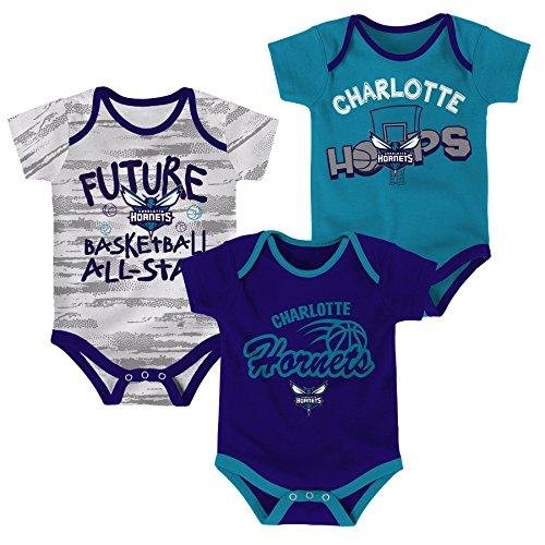 fan products of NBA Newborn & Infant 3 Piece Onesie Set Charlotte Hornets-Hornets Purple-6-9 Months