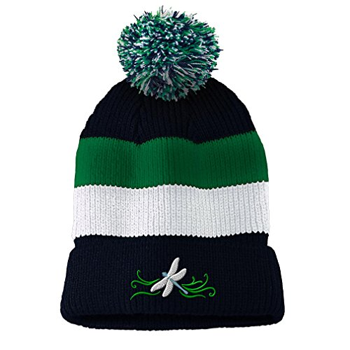 Dragon Striped Beanie - Dragonfly Border Embroidered Unisex Adult Acrylic Vintage Striped Removable Pom Pom Beanie Winter Hat - Navy/Green/White Stripes, One Size