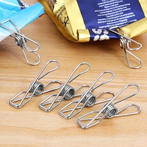 FOCCTS 60 piezas de Clothespin colgadores de ropa de lavander/ía de acero inoxidable a prueba de viento para Home Office School