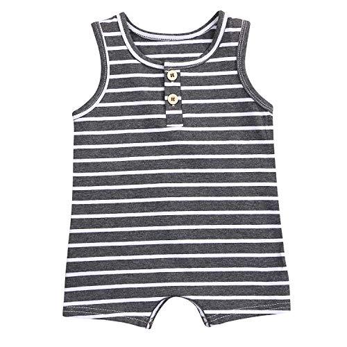 GRNSHTS Newborn Baby Boys Girls Stripe Sleeveless Romper Black and White One Piece Bodysuit (Black, 6-12 Months)