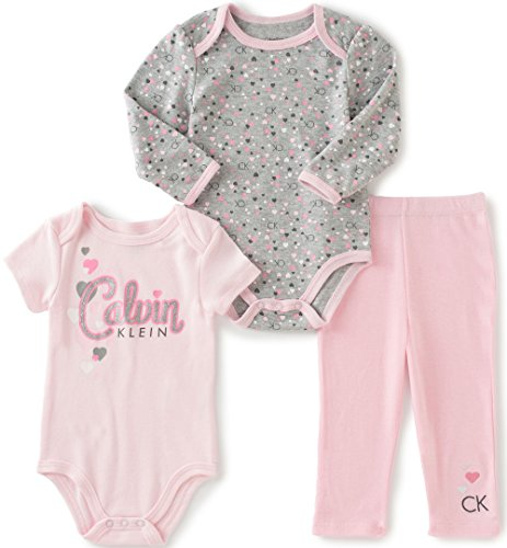 Calvin Klein Baby Girls' Long/Short Sleeve Creeper with Pants, Light Pink, 6/9 Months