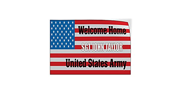 Custom Door Decals Vinyl Stickers Multiple Sizes Welcome Home Name U.S Army Flag Lifestyle Welcome Home Outdoor Luggage /& Bumper Stickers for Cars Red 30X20Inches Set of 5