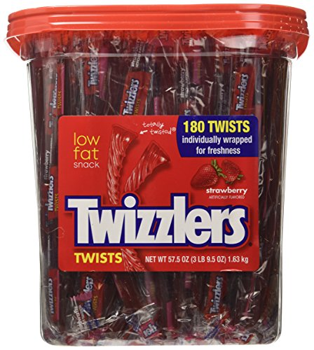 Hershey Twizzlers Strawberry Candy - Twizzlers Strawberry Candy Twists - 180 Pcs, 3LB 9.5 OZ