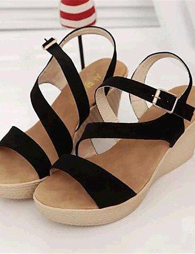 ShangYi Sandaletten für Damen Damenschuhe-Sandalen-Lässig-Vlies-Keilabsatz-Wedges-Schwarz / Grau Black