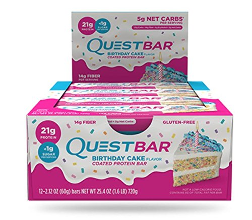 Quest Nutrition Birthday Cake Protein Bar High Low Carb Gluten Free Soy Keto Friendly 12 Count